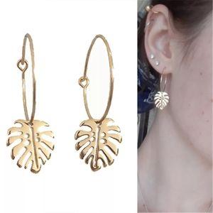 Vintage Leaf Trendy Gold Color Dangle Earrings